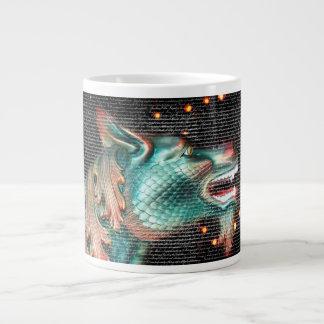 dragon statue with text overlay pic large coffee mug