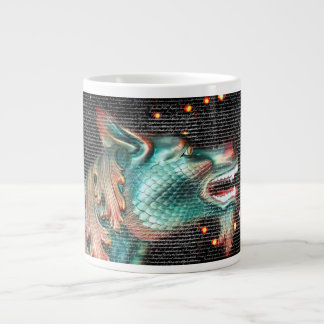 dragon statue with text overlay pic 20 oz large ceramic coffee mug