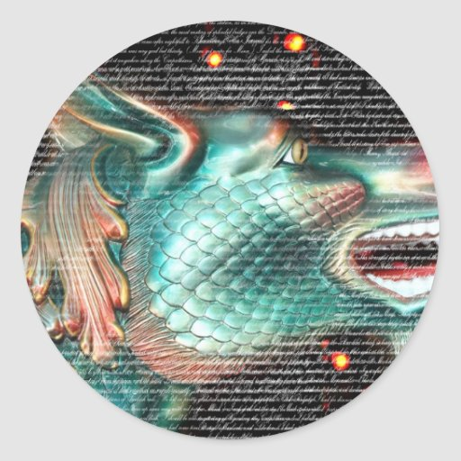 dragon statue with text overlay pic classic round sticker