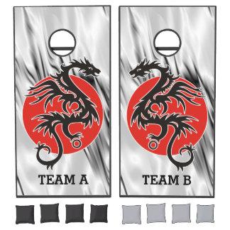 Dragon Sun - black red white + your ideas Cornhole Set
