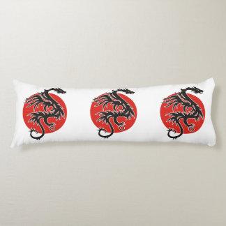 Dragon Sun - black red white + your ideas Body Pillow
