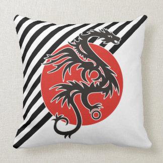 Dragon Sun - black red white + your ideas Pillow