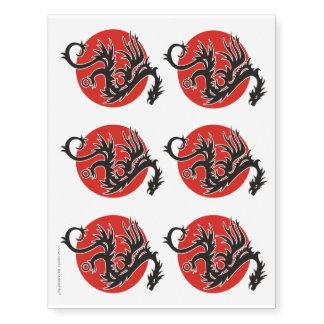Dragón Sun - blanco rojo negro + sus ideas Tatuajes Temporales
