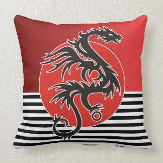 Dragon Sun Power - black red white + your ideas Pillow