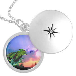 DRAGON SUNRISE SILVER PLATED NECKLACE