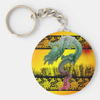 Dragon Sunset Basic Round Button Keychain
