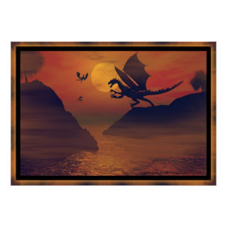 Dragon Sunset By Michelle Wilder Poster