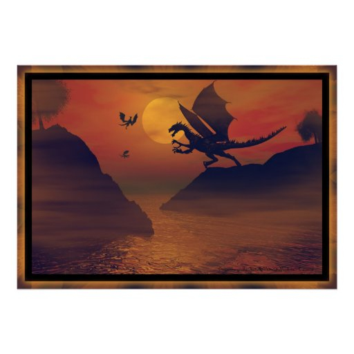 Dragon Sunset By Michelle Wilder Posters