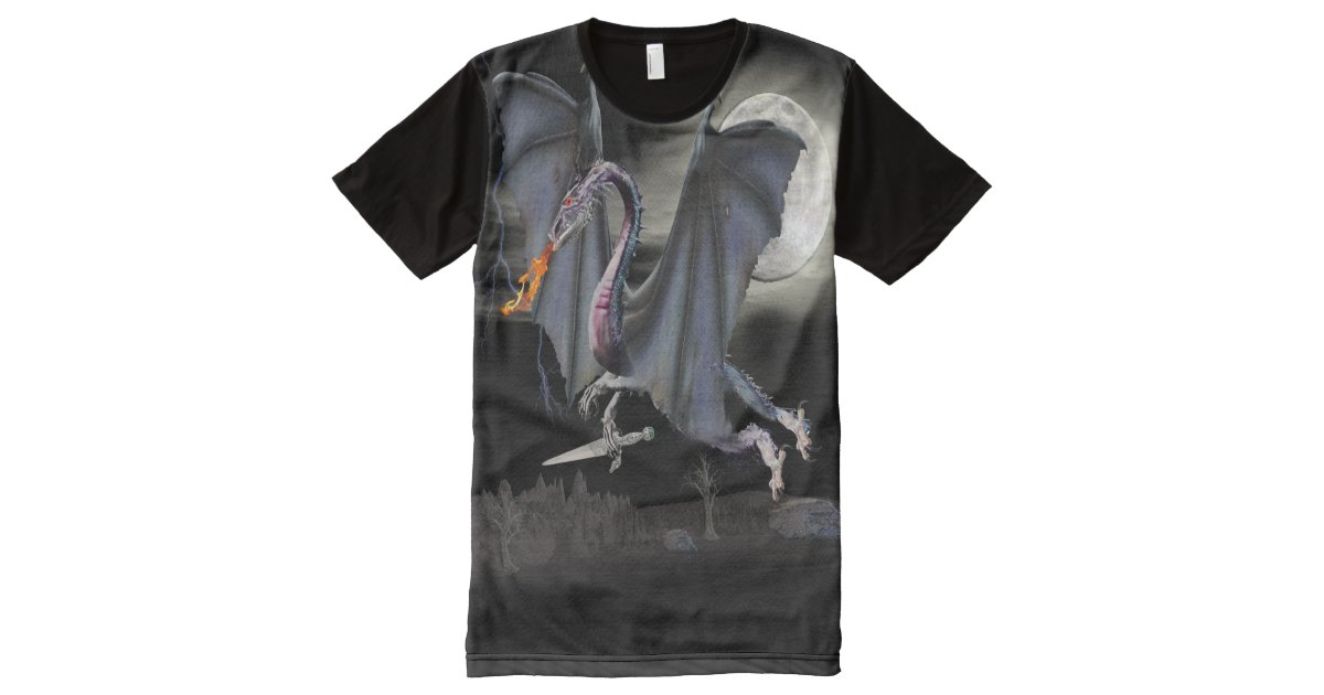 Dragon t shirt all over print t shirt zazzle for Vista print tee shirt