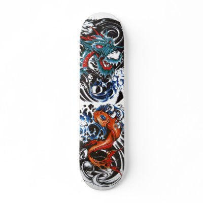 dragon tattoo 1, koi tattoo 2 custom skate board by silvercryer2000