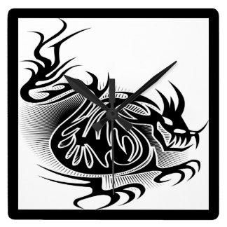 Dragon tattoo design square wallclocks