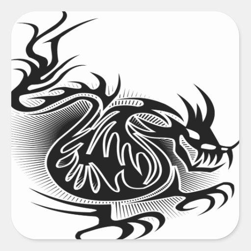 dragon tattoo design square stickers zazzle. Black Bedroom Furniture Sets. Home Design Ideas