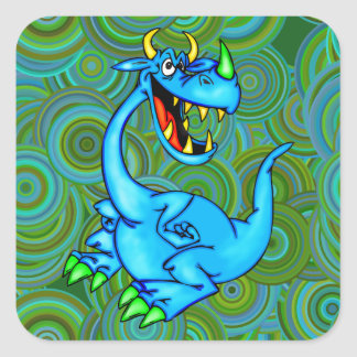 Dragón temible pegatina cuadrada