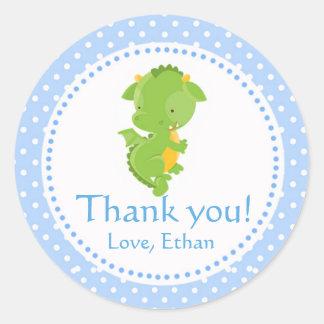 Dragon Thank you Label Sticker Green Blue