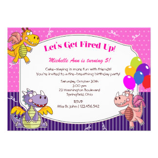 Dragon Theme for Girl s Birthday Personalized Announcement