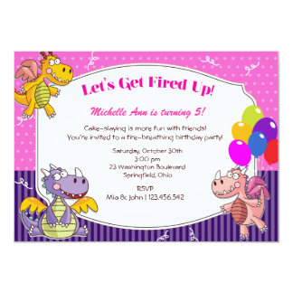Dragon Theme for Girl's Birthday Card