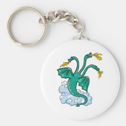 Dragon Three Heads Basic Round Button Keychain