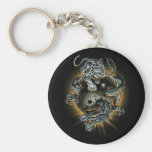 dragon/tiger/ying yang basic round button keychain