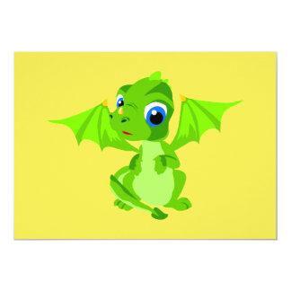"""Dragón tímido del bebé invitación 5"""" x 7"""""""