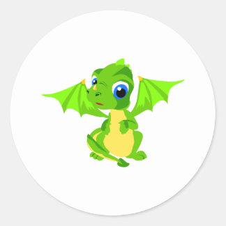 Dragón tímido del bebé pegatina redonda