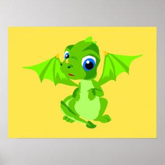 Dragón tímido del bebé póster