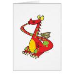 dragón tonto con la cola en boca tarjeta de felicitación