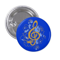 Dragon Treble Clef  Peonies Music Custom Button at Zazzle