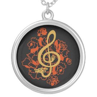 Dragon treble clef peonies music Custom Necklace