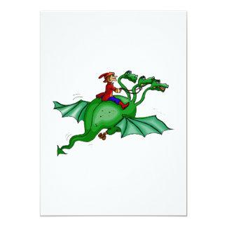 Dragón Tres-Dirigido con el jinete Invitación 12,7 X 17,8 Cm