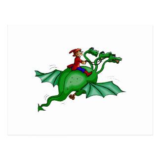 Dragón Tres-Dirigido con el jinete Tarjetas Postales