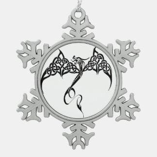 Dragón tribal céltico adorno de peltre en forma de copo de nieve