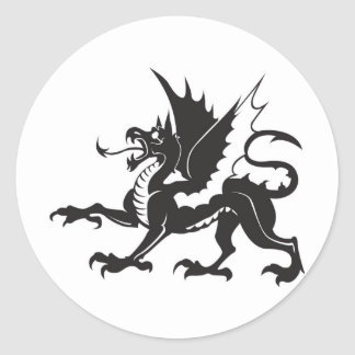 dragon-tribal classic round sticker