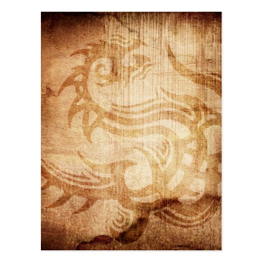 DRAGON TRIBAL GRUNGE BROWNS FANTASY BACKGROUNDS D POSTCARD