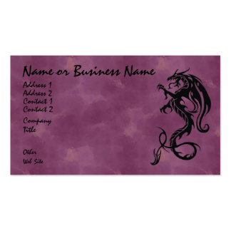Dragón tribal negro en tarjeta de visita roja