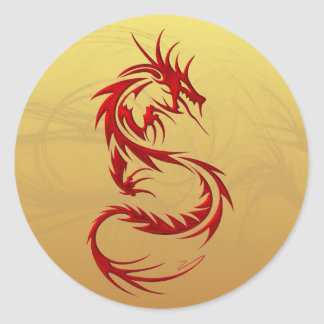 Dragón tribal pegatina redonda