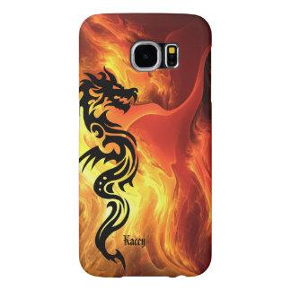 Dragón tribal personalizado en llamas fundas samsung galaxy s6