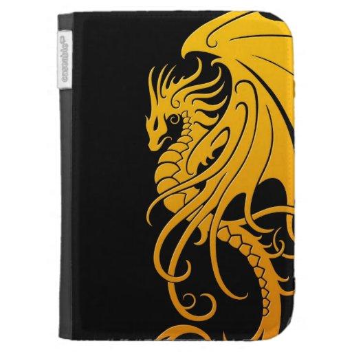 Dragón tribal que vuela - amarillo en negro