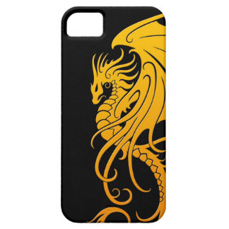 Dragón tribal que vuela - amarillo en negro iPhone 5 Case-Mate cárcasas