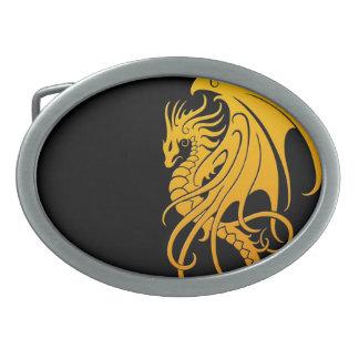 Dragón tribal que vuela - amarillo en negro hebillas cinturón ovales