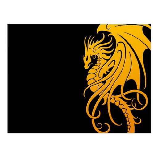 Dragón tribal que vuela - amarillo en negro tarjetas postales