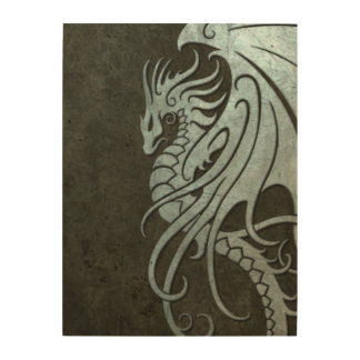 Dragón tribal que vuela - efecto de acero cuadros de madera