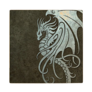 Dragón tribal que vuela - efecto de acero posavasos de arce