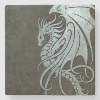 Dragón tribal que vuela - efecto de acero posavasos de piedra