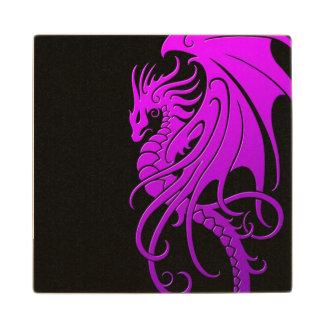 Dragón tribal que vuela - púrpura en negro posavasos de madera