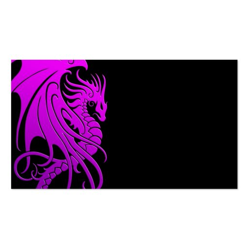 Dragón tribal que vuela - púrpura en negro tarjeta de visita