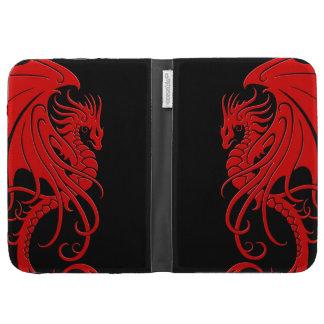 Dragón tribal que vuela - rojo en negro