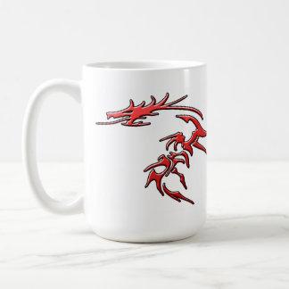 Dragón tribal rojo taza de café