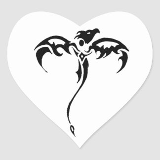 Dragon Tribal Tattoo Heart Sticker
