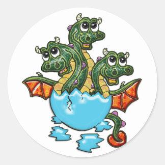 Dragon Triplets Hatching Classic Round Sticker