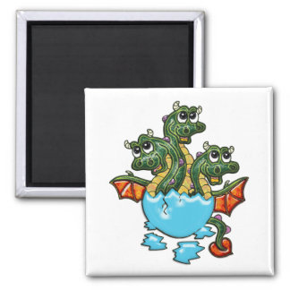 Dragon Triplets Hatching 2 Inch Square Magnet
